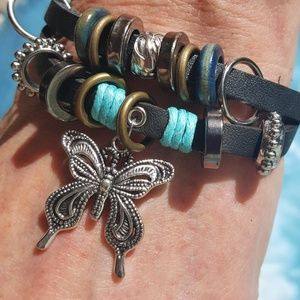 Jewelry - Leather beaded butterfly